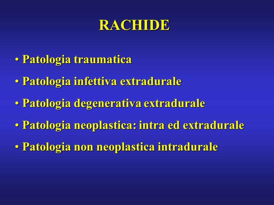 RACHIDE Patologia traumatica Patologia traumatica Patologia infettiva extradurale Patologia infettiva extradurale Patologia degenerativa extradurale P