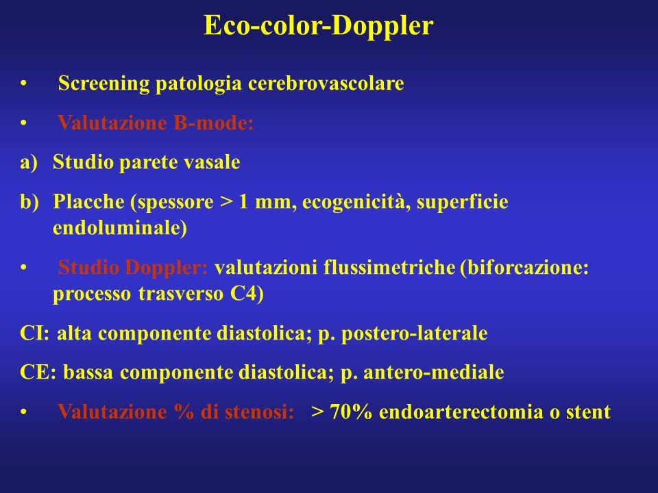 Eco-color-Doppler Screening patologia cerebrovascolare Valutazione B-mode: a)Studio parete vasale b)Placche (spessore > 1 mm, ecogenicità, superficie