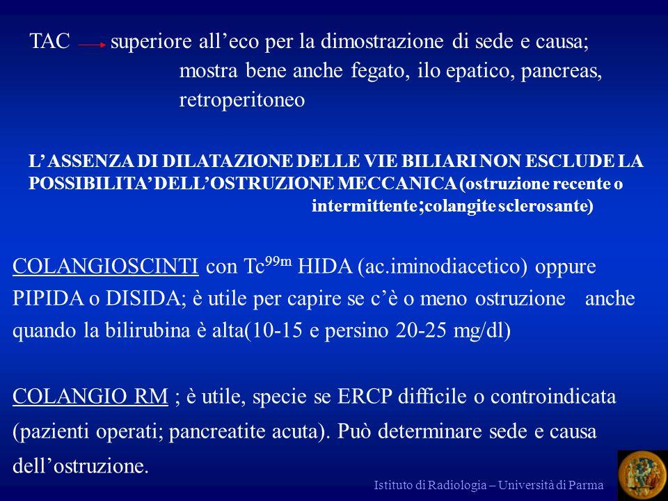 Istituto di Radiologia – Università di Parma TAC superiore alleco per la dimostrazione di sede e causa; mostra bene anche fegato, ilo epatico, pancrea