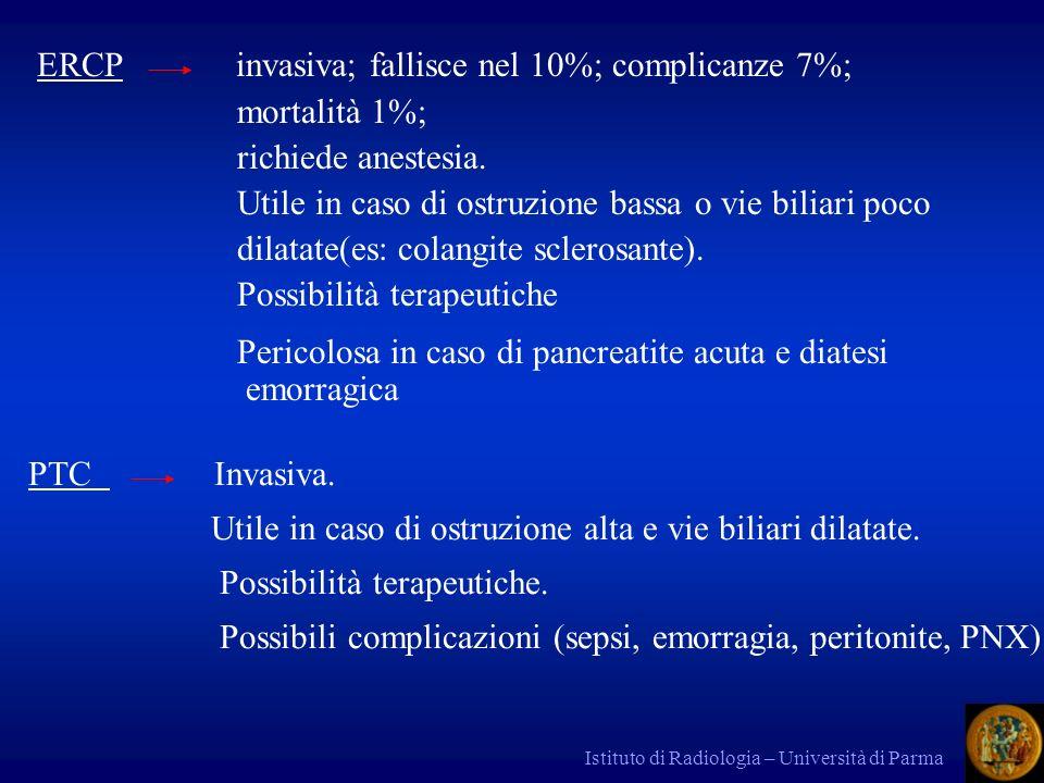 Istituto di Radiologia – Università di Parma PTC Invasiva. Utile in caso di ostruzione alta e vie biliari dilatate. Possibilità terapeutiche. Possibil