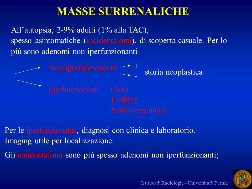 Istituto di Radiologia – Università di Parma MASSE SURRENALICHE Allautopsia, 2-9% adulti (1% alla TAC), spesso asintomatiche (incidentalomi), di scope
