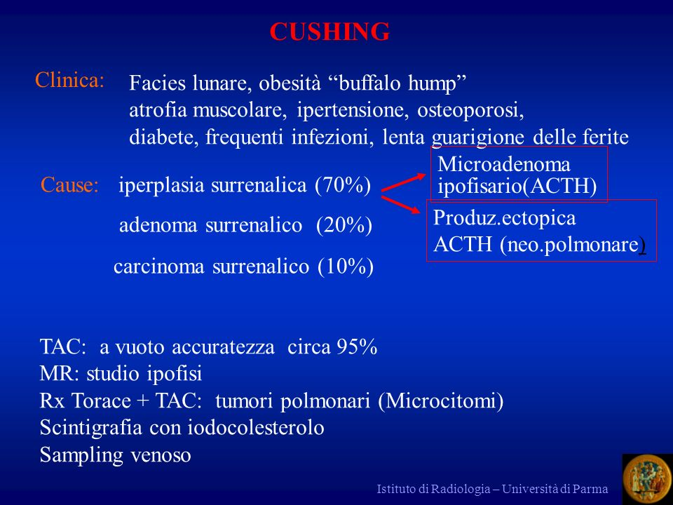 Istituto di Radiologia – Università di Parma CUSHING Clinica: Cause: iperplasia surrenalica (70%) adenoma surrenalico (20%) carcinoma surrenalico (10%