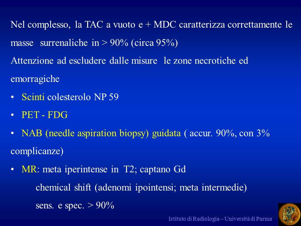 Istituto di Radiologia – Università di Parma Nel complesso, la TAC a vuoto e + MDC caratterizza correttamente le masse surrenaliche in > 90% (circa 95