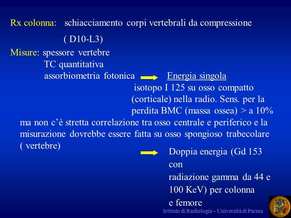Istituto di Radiologia – Università di Parma Rx colonna: schiacciamento corpi vertebrali da compressione ( D10-L3) Misure: spessore vertebre TC quanti