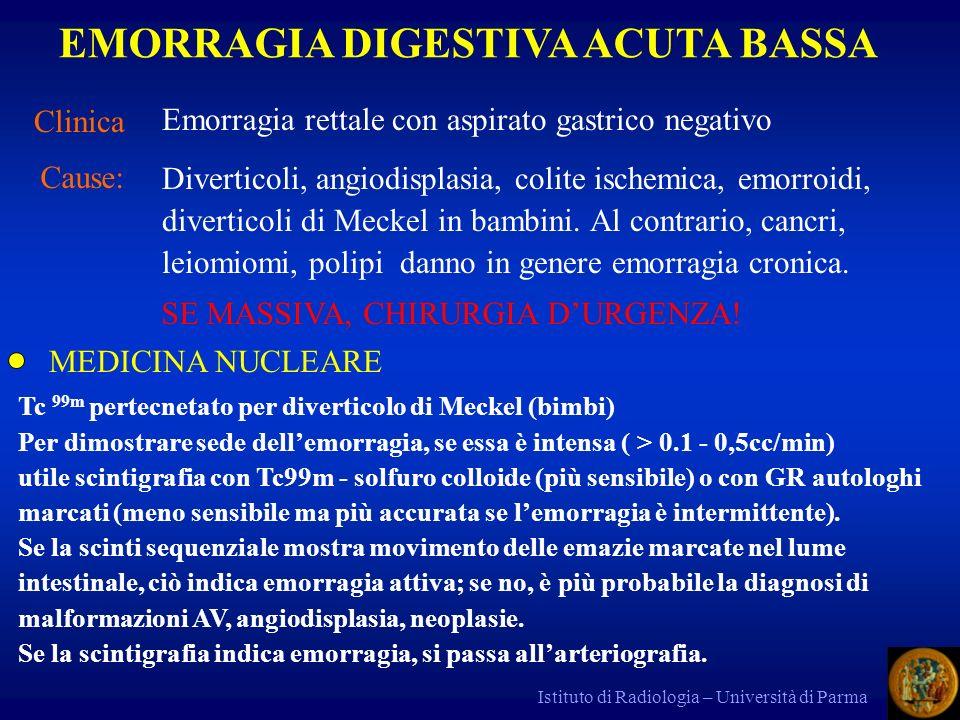 Istituto di Radiologia – Università di Parma ARTERIOGRAFIA Mostra emorragie > 1 cc/min, quindi è meno sensibile della scintigrafia; indica la sede e talora la causa (come nella angiodisplasia).