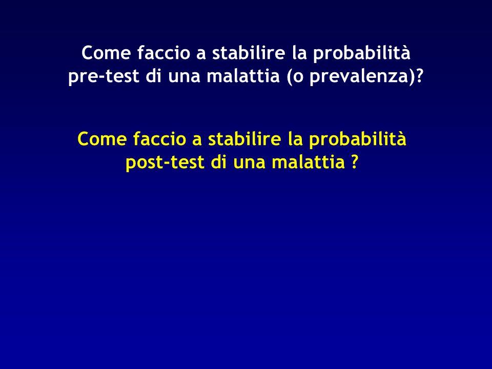 Come faccio a stabilire la probabilità pre-test di una malattia (o prevalenza)? Come faccio a stabilire la probabilità post-test di una malattia ?