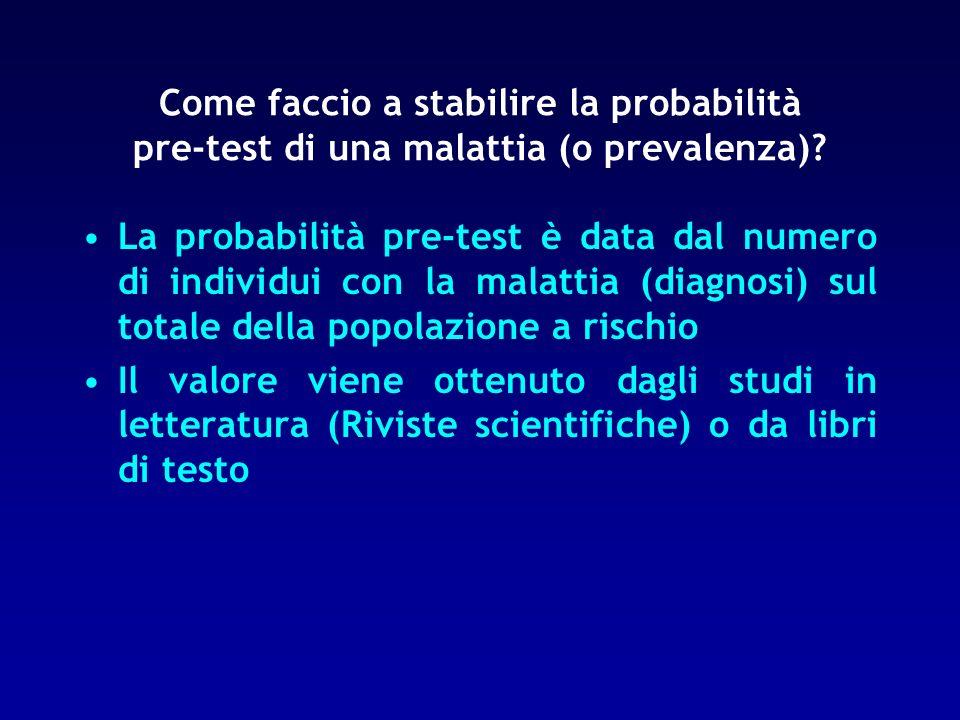 La probabilità pre-test è data dal numero di individui con la malattia (diagnosi) sul totale della popolazione a rischio Il valore viene ottenuto dagl