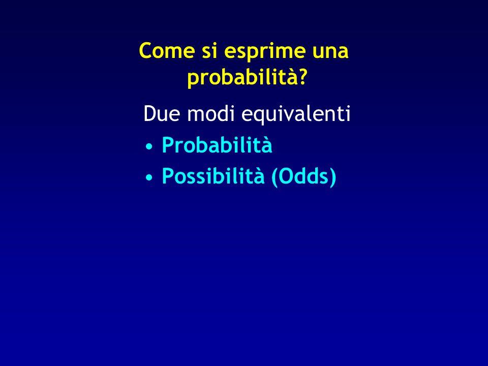 Come si esprime una probabilità? Due modi equivalenti Probabilità Possibilità (Odds)