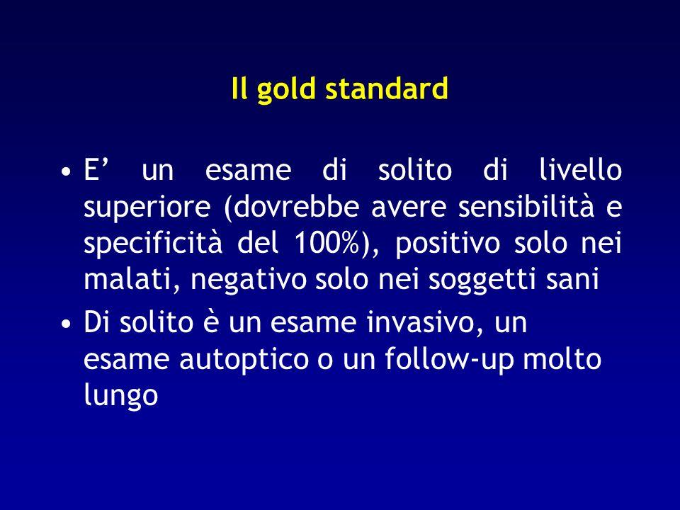 Il gold standard E un esame di solito di livello superiore (dovrebbe avere sensibilità e specificità del 100%), positivo solo nei malati, negativo sol