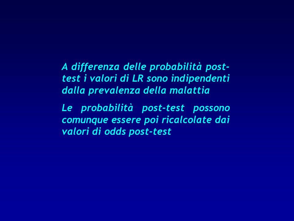 A differenza delle probabilità post- test i valori di LR sono indipendenti dalla prevalenza della malattia Le probabilità post-test possono comunque e