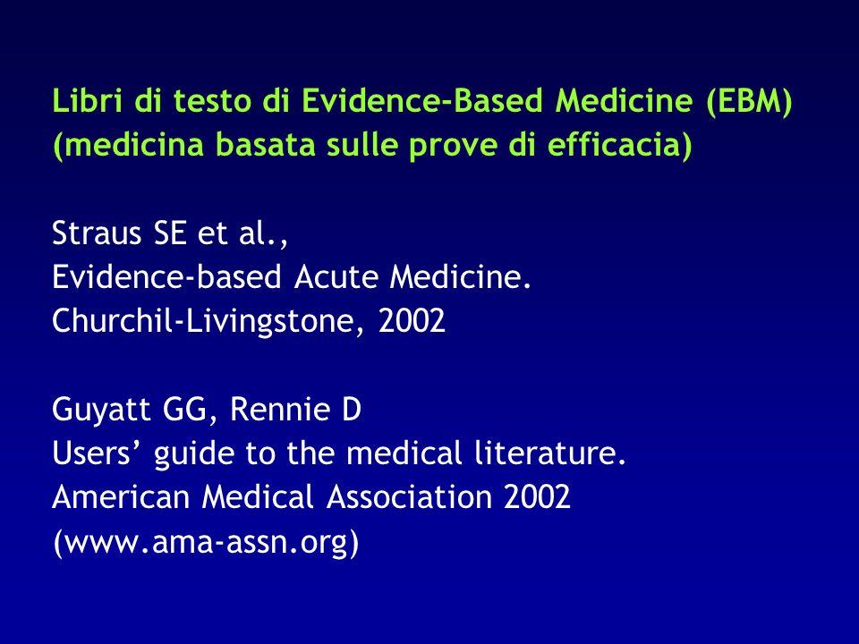 Libri di testo di Evidence-Based Medicine (EBM) (medicina basata sulle prove di efficacia) Straus SE et al., Evidence-based Acute Medicine. Churchil-L