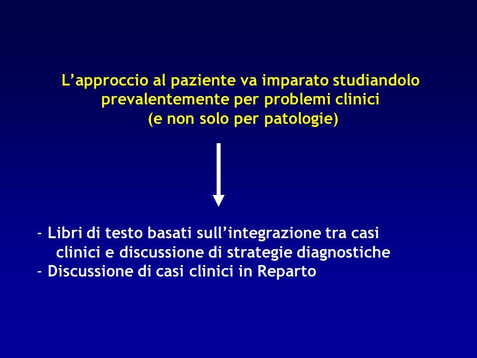 Lapproccio al paziente va imparato studiandolo prevalentemente per problemi clinici (e non solo per patologie) - Libri di testo basati sullintegrazion