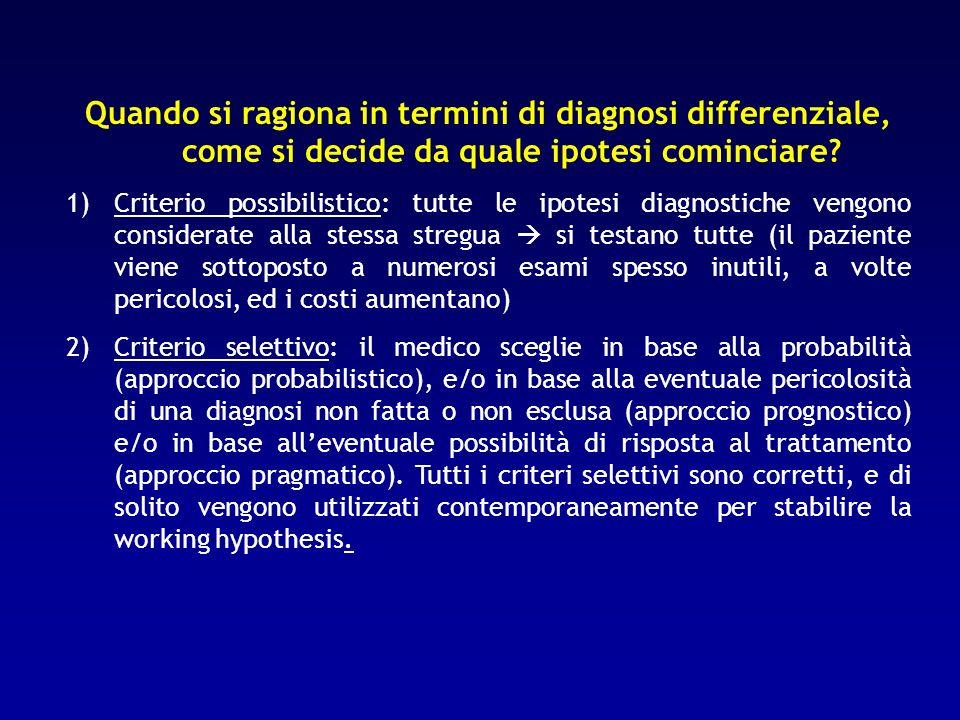 Quando si ragiona in termini di diagnosi differenziale, come si decide da quale ipotesi cominciare? 1)Criterio possibilistico: tutte le ipotesi diagno