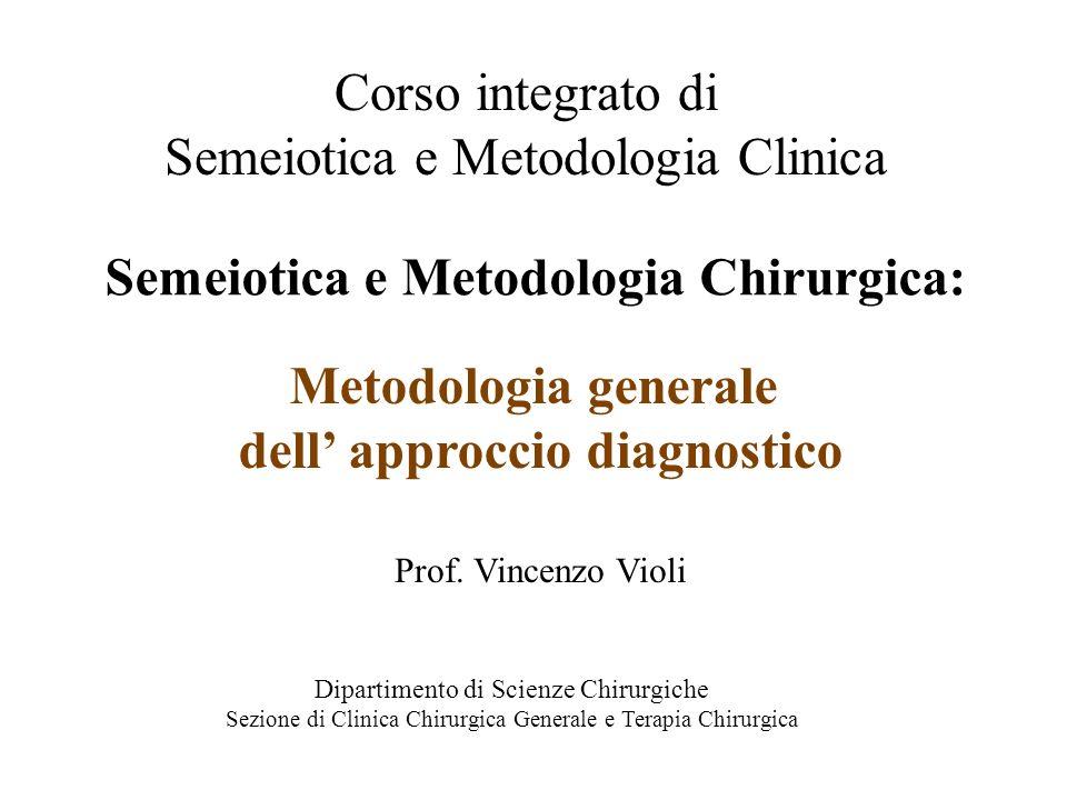 CORSO INTEGRATO DI SEMEIOTICA E METODOLOGIA CLINICA Esiste una Semeiotica Chirurgica.