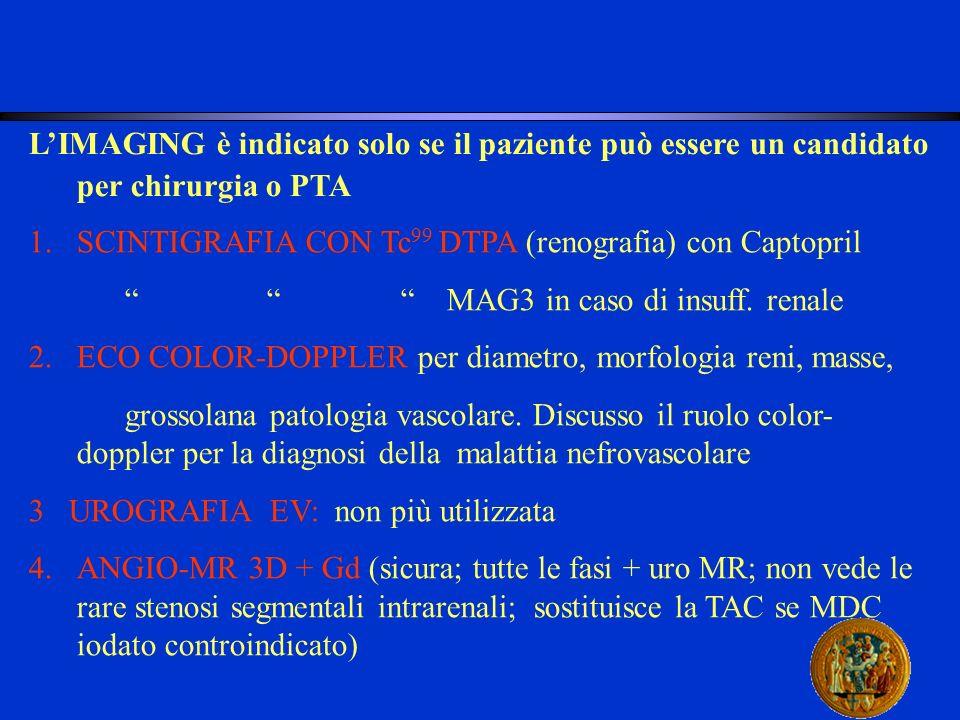 LIMAGING è indicato solo se il paziente può essere un candidato per chirurgia o PTA 1.SCINTIGRAFIA CON Tc 99 DTPA (renografia) con Captopril MAG3 in c