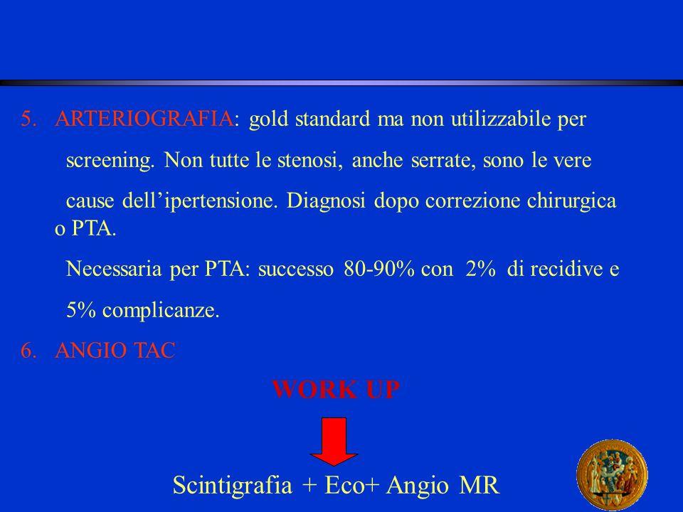 5.ARTERIOGRAFIA: gold standard ma non utilizzabile per screening. Non tutte le stenosi, anche serrate, sono le vere cause dellipertensione. Diagnosi d