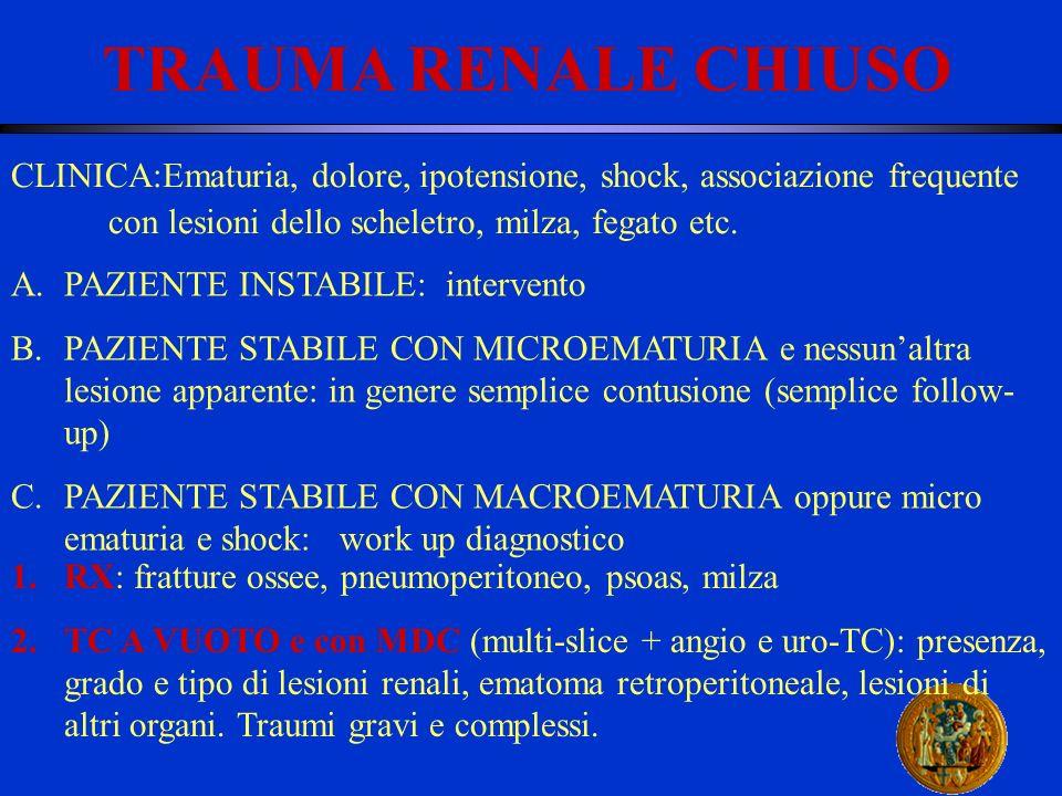 TRAUMA RENALE CHIUSO CLINICA:Ematuria, dolore, ipotensione, shock, associazione frequente con lesioni dello scheletro, milza, fegato etc. A.PAZIENTE I