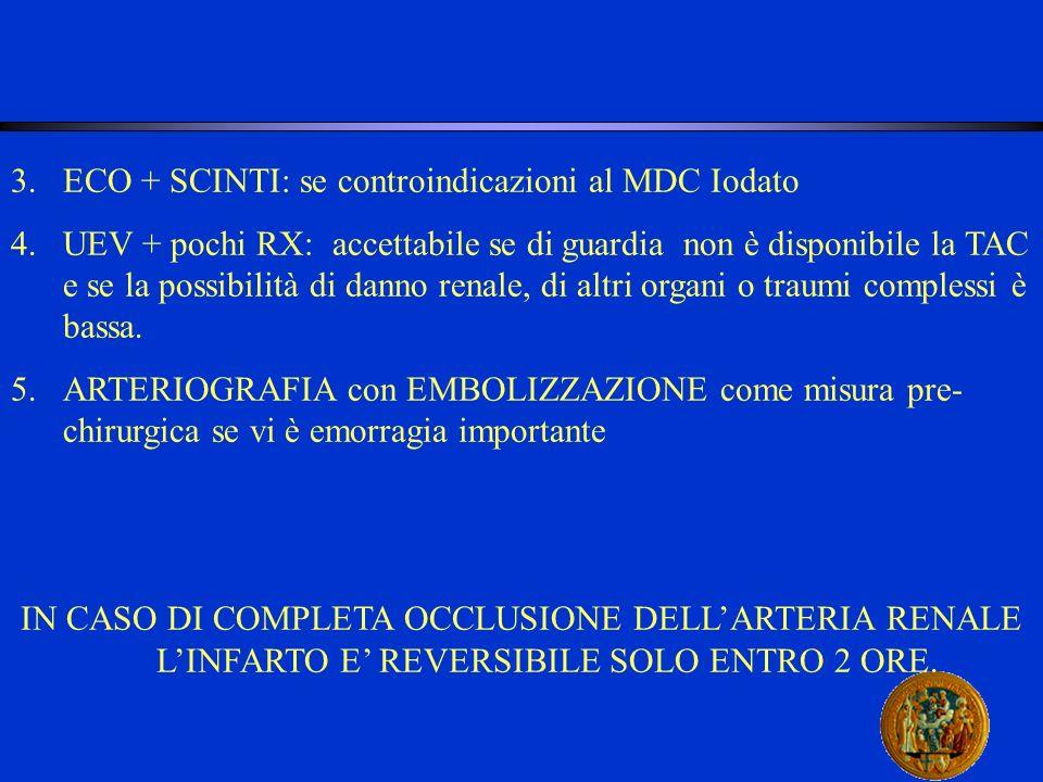 3.ECO + SCINTI: se controindicazioni al MDC Iodato 4.UEV + pochi RX: accettabile se di guardia non è disponibile la TAC e se la possibilità di danno r
