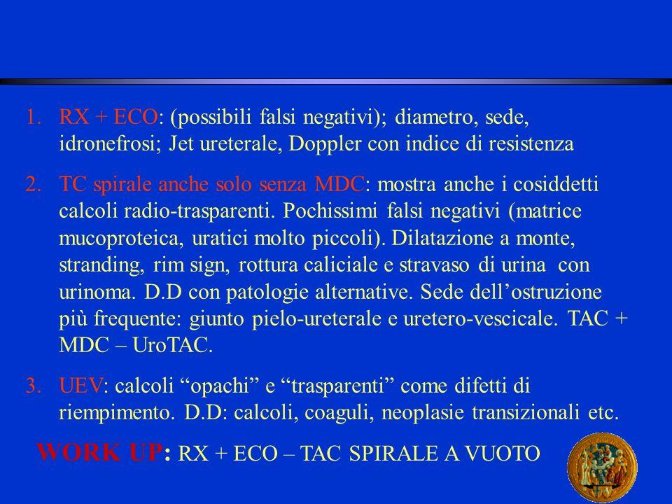 1.RX + ECO: (possibili falsi negativi); diametro, sede, idronefrosi; Jet ureterale, Doppler con indice di resistenza 2.TC spirale anche solo senza MDC