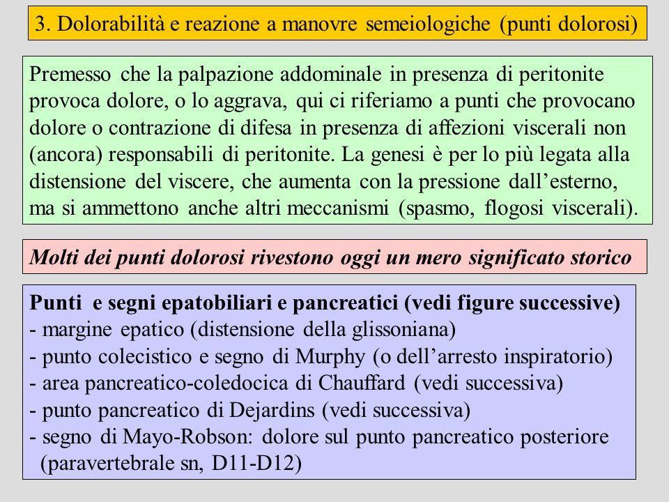 3. Dolorabilità e reazione a manovre semeiologiche (punti dolorosi) Punti e segni epatobiliari e pancreatici (vedi figure successive) - margine epatic