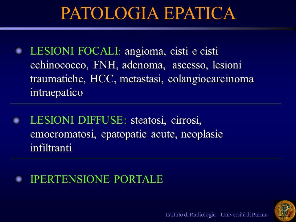 Istituto di Radiologia – Università di Parma PATOLOGIA EPATICA LESIONI FOCALI : angioma, cisti e cisti echinococco, FNH, adenoma, ascesso, lesioni traumatiche, HCC, metastasi, colangiocarcinoma intraepatico LESIONI DIFFUSE: steatosi, cirrosi, emocromatosi, epatopatie acute, neoplasie infiltranti IPERTENSIONE PORTALE