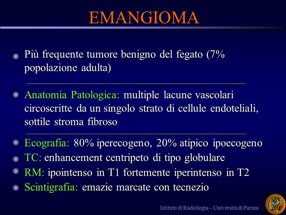 Più frequente tumore benigno del fegato (7% popolazione adulta) Istituto di Radiologia – Università di Parma Ecografia: 80% iperecogeno, 20% atipico ipoecogeno TC: enhancement centripeto di tipo globulare RM: ipointenso in T1 fortemente iperintenso in T2 Scintigrafia: emazie marcate con tecnezio EMANGIOMA Anatomia Patologica: multiple lacune vascolari circoscritte da un singolo strato di cellule endoteliali, sottile stroma fibroso