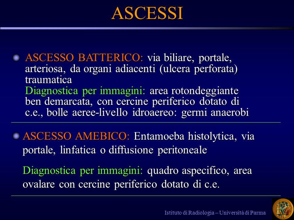 ASCESSO BATTERICO: via biliare, portale, arteriosa, da organi adiacenti (ulcera perforata) traumatica Diagnostica per immagini: area rotondeggiante be