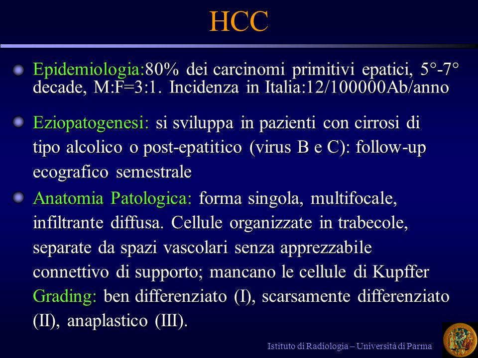 Epidemiologia:80% dei carcinomi primitivi epatici, 5°-7° decade, M:F=3:1. Incidenza in Italia:12/100000Ab/anno Istituto di Radiologia – Università di