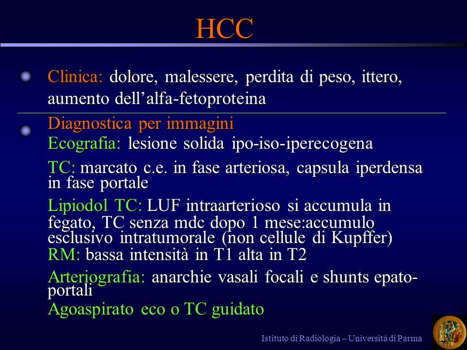 Istituto di Radiologia – Università di Parma HCC Clinica: dolore, malessere, perdita di peso, ittero, aumento dellalfa-fetoproteina Diagnostica per immagini Ecografia: lesione solida ipo-iso-iperecogena TC: marcato c.e.