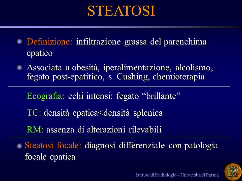 Istituto di Radiologia – Università di Parma STEATOSI Definizione: infiltrazione grassa del parenchima epatico Associata a obesità, iperalimentazione, alcolismo, fegato post-epatitico, s.