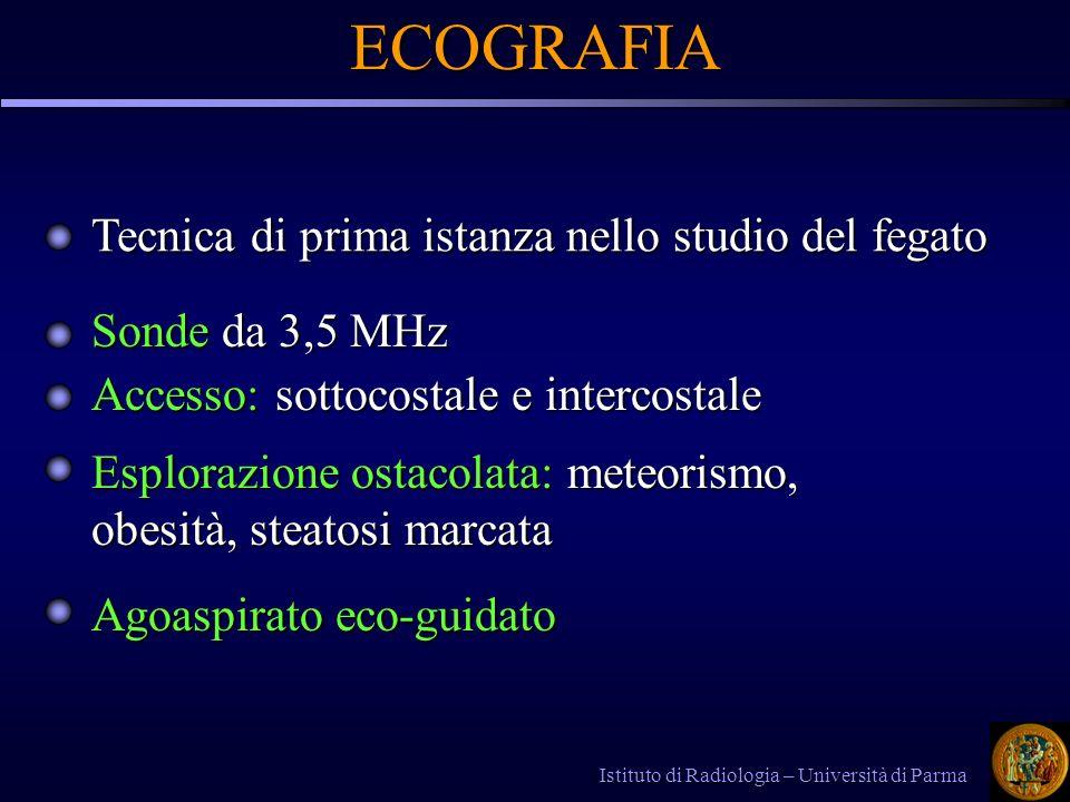 Tecnica di prima istanza nello studio del fegato Sonde da 3,5 MHz Accesso: sottocostale e intercostale Istituto di Radiologia – Università di Parma EC