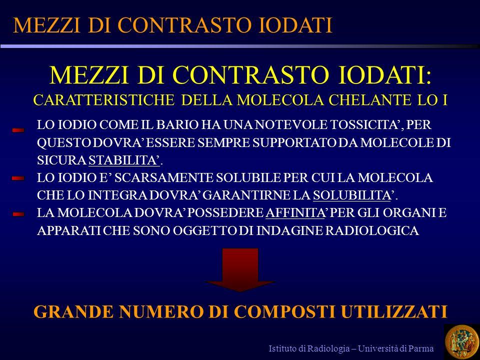 MEZZI DI CONTRASTO IODATI Istituto di Radiologia – Università di Parma LO IODIO COME IL BARIO HA UNA NOTEVOLE TOSSICITA, PER QUESTO DOVRA ESSERE SEMPR