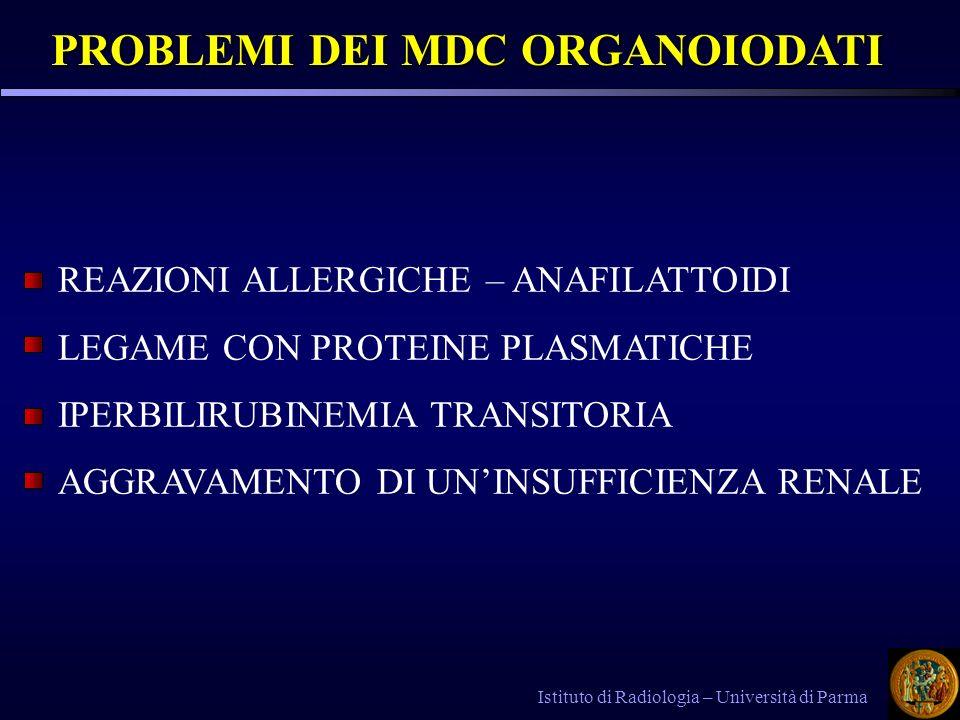 PROBLEMI DEI MDC ORGANOIODATI PROBLEMI DEI MDC ORGANOIODATI Istituto di Radiologia – Università di Parma REAZIONI ALLERGICHE – ANAFILATTOIDI LEGAME CO