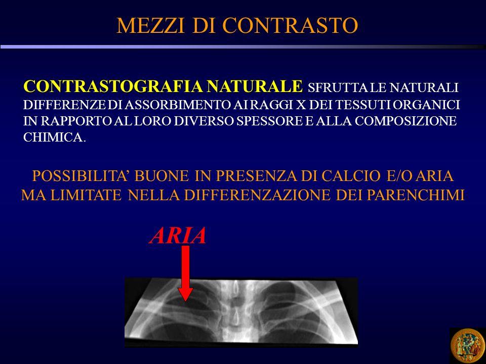 MEZZI DI CONTRASTO Nell immagine radiografica possono essere riconosciuti 5 tipi di densità principali: 1.Aria 2.Grasso 3.Tessuti molli 4.Fluidi 5.Osso 6.MEZZI DI CONTRASTO