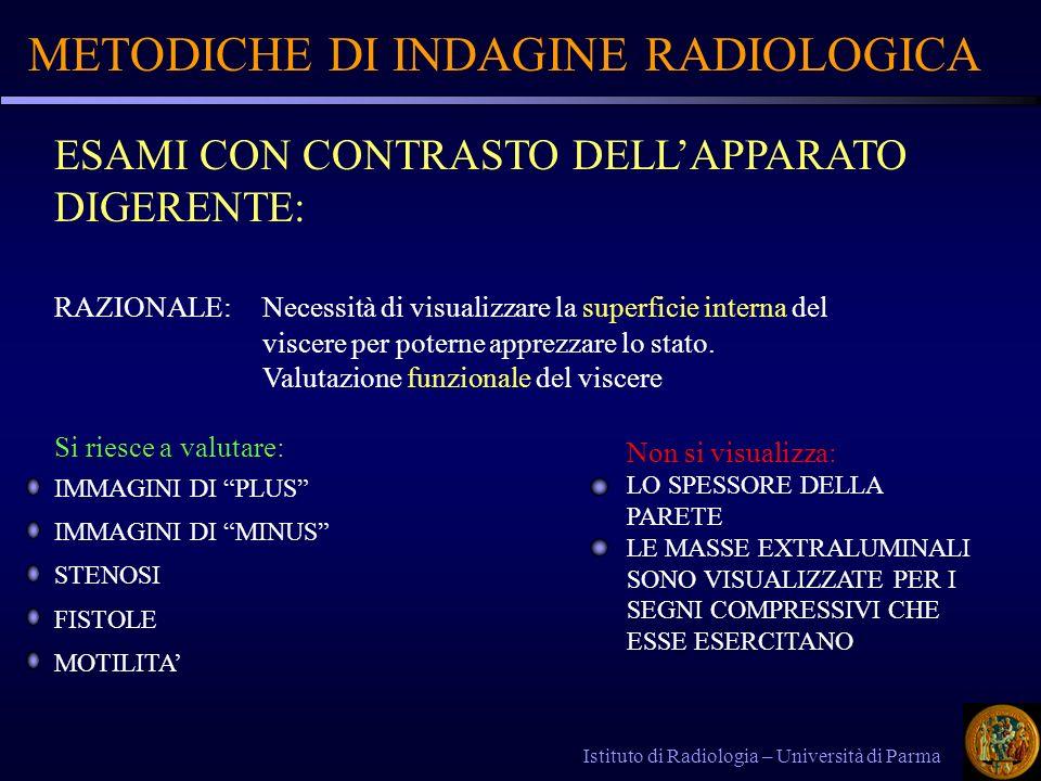 METODICHE DI INDAGINE RADIOLOGICA Istituto di Radiologia – Università di Parma ESAMI CON CONTRASTO DELLAPPARATO DIGERENTE: RAZIONALE: Necessità di vis