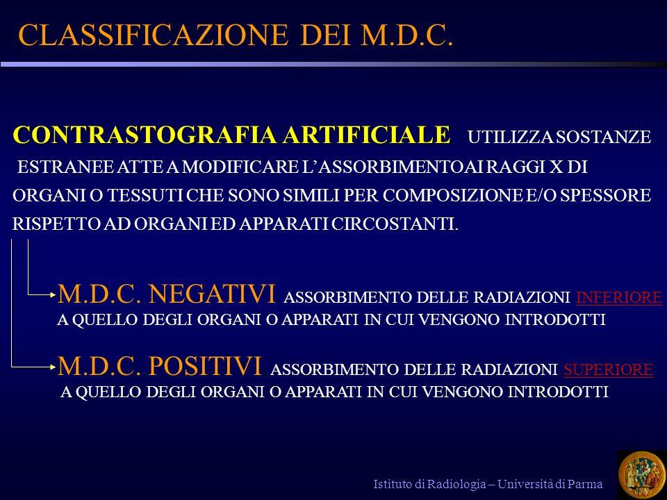 MEZZI DI CONTRASTO IODATI Istituto di Radiologia – Università di Parma IL POTERE CONTRASTOGRAFICO E LEGATO ANCHE IN QUESTE SOSTANZE ALLA PRESENZA DI UN ELEMENTO (LO IODIO) CON NUMERO ATOMICO ELEVATO (Z=53) MEZZI DI CONTRASTO IODATI: I COMPOSTI DELLO IODIO SONO NUMEROSI E DIVERSI PER CARATTERISTICHE CHIMICHE E PER SETTORI DI IMPIEGO.