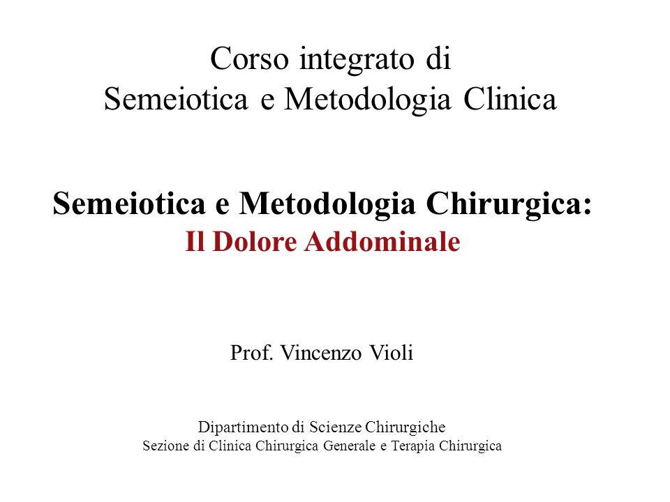 Corso integrato di Semeiotica e Metodologia Clinica Semeiotica e Metodologia Chirurgica: Il Dolore Addominale Prof. Vincenzo Violi Dipartimento di Sci