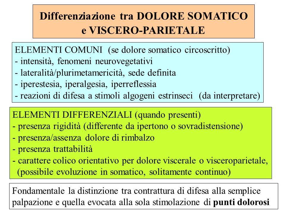 ELEMENTI COMUNI (se dolore somatico circoscritto) - intensità, fenomeni neurovegetativi - lateralità/plurimetamericità, sede definita - iperestesia, i