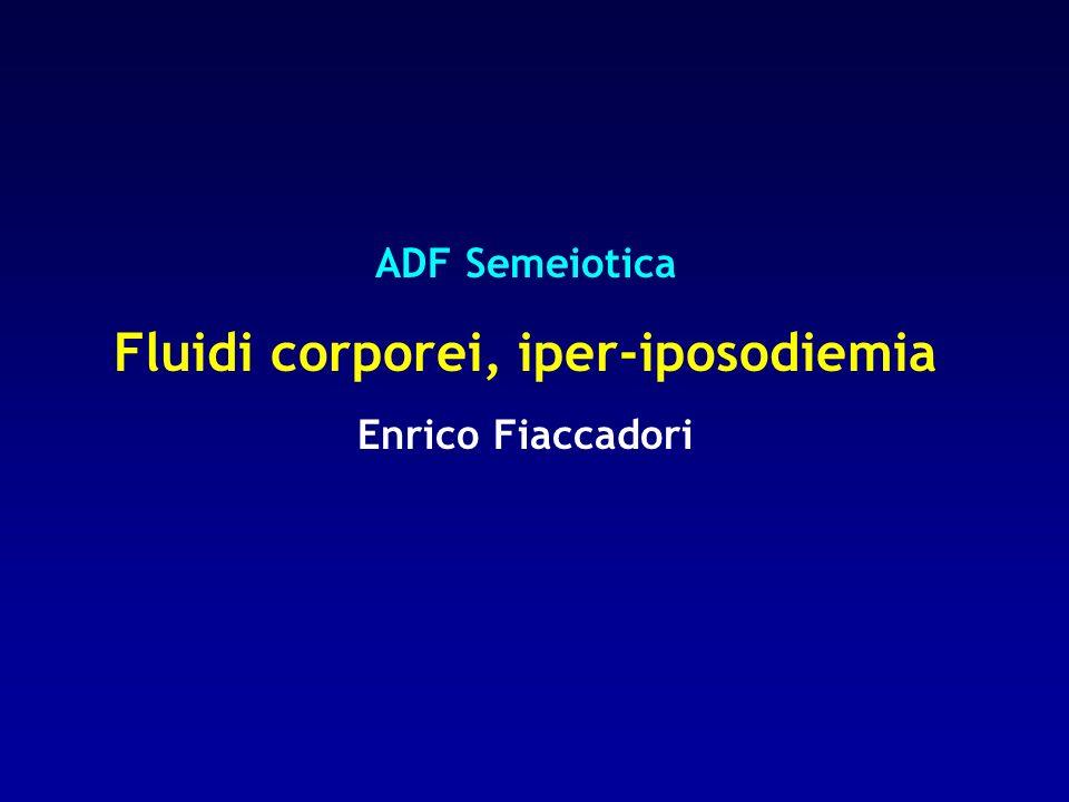 Apporto di fluidi tipico di un adulto sedentario - 1200 ml bevande - 900 ml cibi - 300 ml metabolismo ossidativo Tale quantità può modificarsi fisiologicamente in misura notevole in base alle perdite di fluidi legate alle necessità della termoregolazione e in base alle abitudini