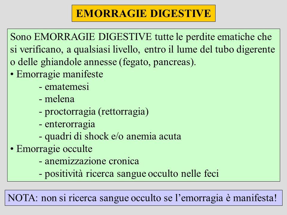 EMORRAGIE DIGESTIVE Sono EMORRAGIE DIGESTIVE tutte le perdite ematiche che si verificano, a qualsiasi livello, entro il lume del tubo digerente o delle ghiandole annesse (fegato, pancreas).