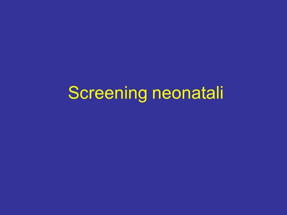 Fenilchetonuria deficit totale o pressocchè totale di fenilalanina idrossilasi o del suo cofattore tetraidrobiopterina con conseguente aumento nel sangue di fenilalnina tossica per il SNC Gene localizzato sul braccio lungo del cromosoma 12 Prevalenza 1:10000 nati Insufficienza mentale grave: perdita di 50 punti di QI al termine del primo anno di vita (4 punti al mese) se non trattati Impossibilità di diagnosi precoce Dosaggio della fenilalanina su goccia di sangue almeno 48-72 ore dopo un pasto proteico Terapia: la riduzione dellintake dio fenilalanina nel cibo è efficace nel prevenire il ritardo mentale