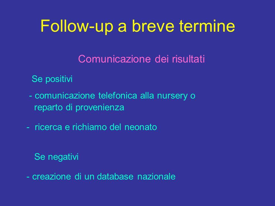 Follow-up a breve termine Comunicazione dei risultati Se positivi - comunicazione telefonica alla nursery o reparto di provenienza - ricerca e richiamo del neonato Se negativi - creazione di un database nazionale