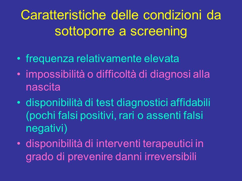 Caratteristiche delle condizioni da sottoporre a screening frequenza relativamente elevata impossibilità o difficoltà di diagnosi alla nascita disponi