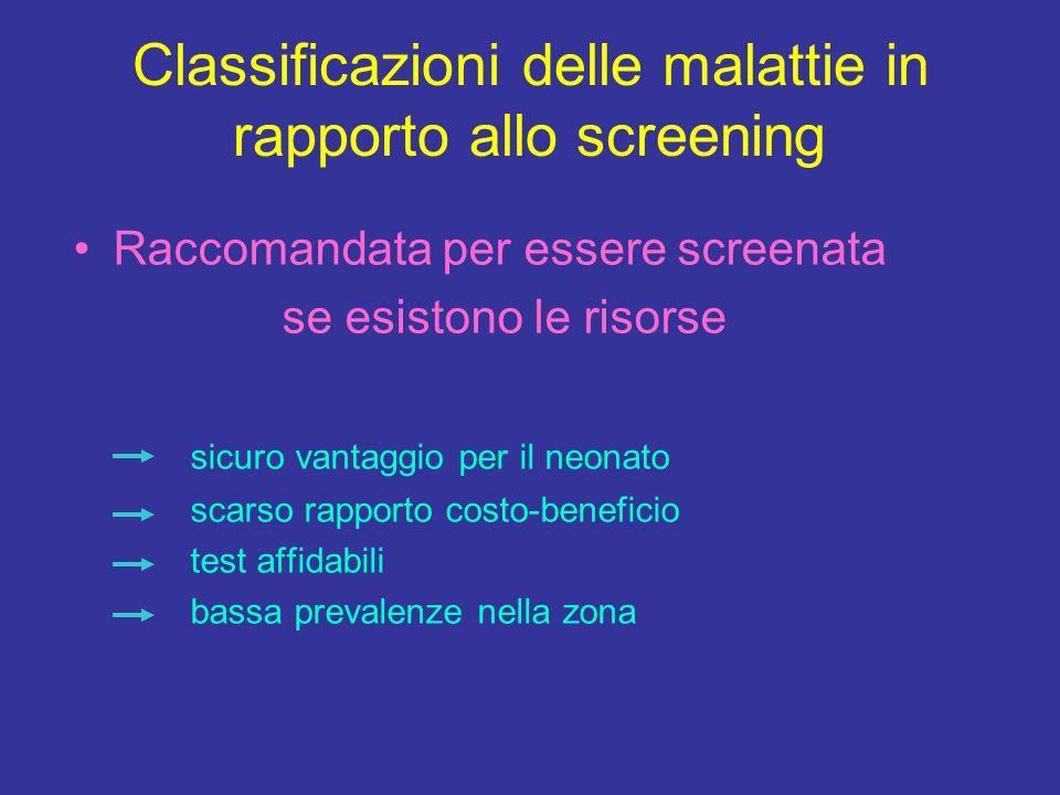 Classificazioni delle malattie in rapporto allo screening Raccomandata per essere screenata se esistono le risorse sicuro vantaggio per il neonato sca