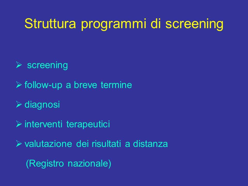 Struttura programmi di screening screening follow-up a breve termine diagnosi interventi terapeutici valutazione dei risultati a distanza (Registro nazionale)