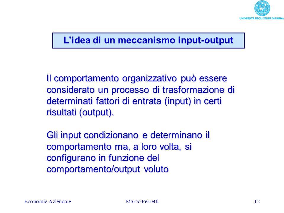 Economia AziendaleMarco Ferretti12 Il comportamento organizzativo può essere considerato un processo di trasformazione di determinati fattori di entra