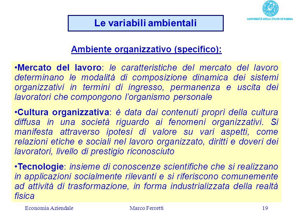 Economia AziendaleMarco Ferretti19 Mercato del lavoro: le caratteristiche del mercato del lavoro determinano le modalità di composizione dinamica dei