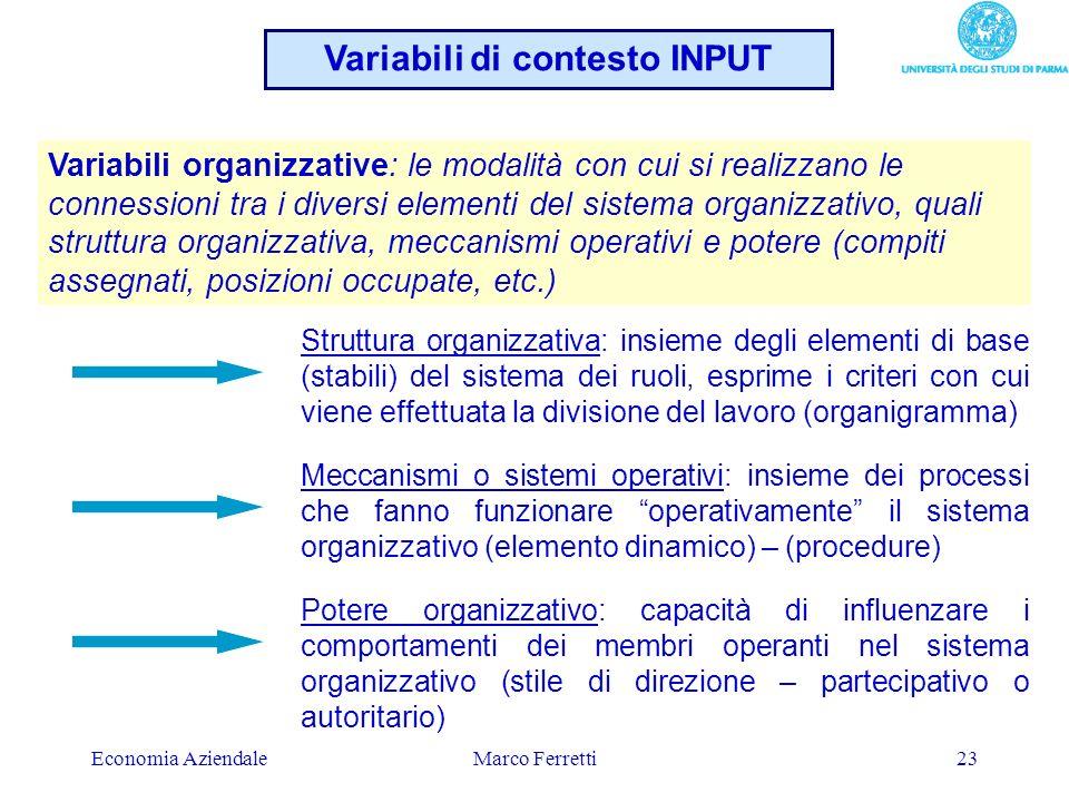 Economia AziendaleMarco Ferretti23 Variabili organizzative: le modalità con cui si realizzano le connessioni tra i diversi elementi del sistema organi
