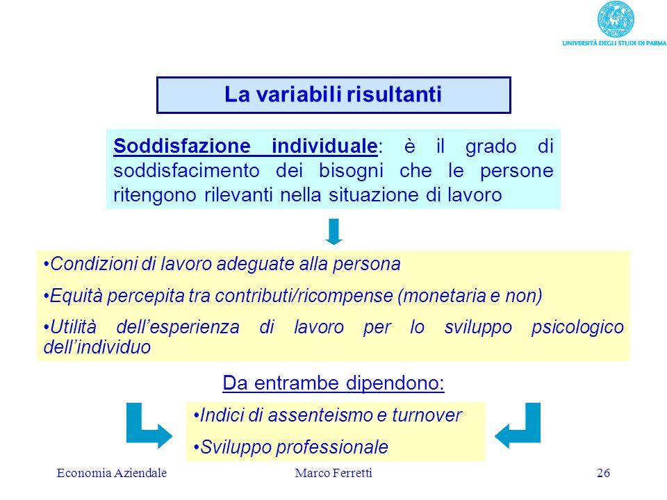 Economia AziendaleMarco Ferretti26 Soddisfazione individuale: è il grado di soddisfacimento dei bisogni che le persone ritengono rilevanti nella situa
