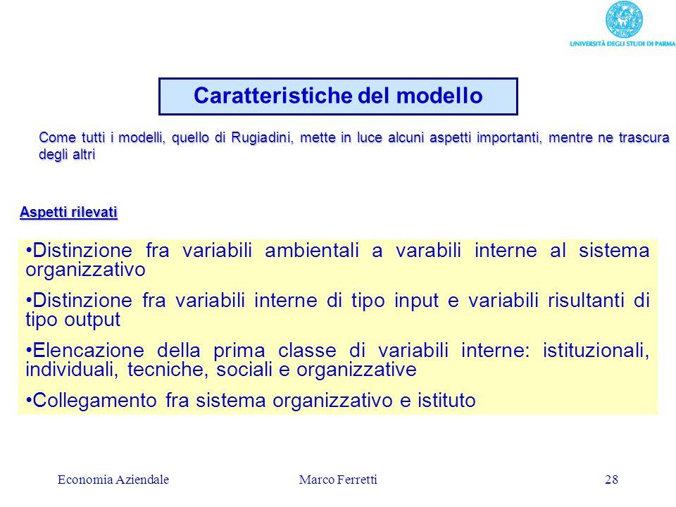 Economia AziendaleMarco Ferretti28 Caratteristiche del modello Distinzione fra variabili ambientali a varabili interne al sistema organizzativo Distin